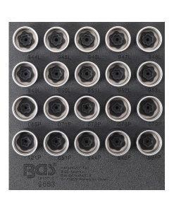 Beskrivning for installation and dismantling of Volvo rim locks in workshop trolley tray hex drive: 19 mm length: 42,5 mm 20 rim lock sockets, types: #944L - #945L - #946L - #947L - #948L - #949L - #950L - #951L - #952L - #953L - #065P - #071P - #072P - #076P - #079P - #121P - #651P - #944P - #945P - #951P Tekniska specifikationer Ingångsprofil Yttre sexkant Material Krom-Vanadium stål Utgångsprofilstorlek, metrisk 19 Bruttovikt 2550 g Längd 42,5 mm